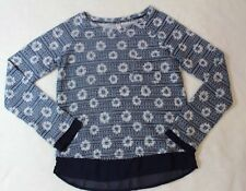 Xhilaration Girls Sweater Sz L 10 12 Blue White Floral Thin Knit Casual School