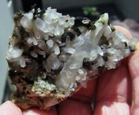 EPIDOTE GREEN CRYSTALS and CLEAR QUARTZS on MATRIX from PERÚ..........FINE PIECE