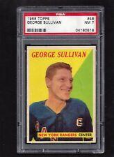1958 Topps #48 George Sullivan PSA 7 NM, Vintage New York Rangers Hockey 1958-59
