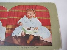 GIRL EATING BOX OF CHOCOLATES ANTIQUE STEREOVIEW STEREO CARD     T*