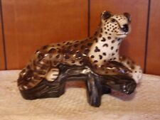 "VTG LEOPARD CAT ART DECO STATUE FIGURINE CHALKWARE MARKED MEXICO 10"" X 7 3/4"""