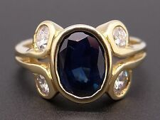 Jerb 18k Yellow Gold 2ct Oval Cut Sapphire Diamond Anniversary Flower Band Ring