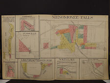 Wisconsin, Waukesha County Map 1914 Menomonee Falls, Elm Grove, North Lake O1#68