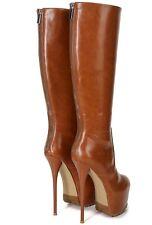 Ellie Tailor Jacey Plateau High Heel Knie Stiefel Knee Boots Braun42 43 44 45 46