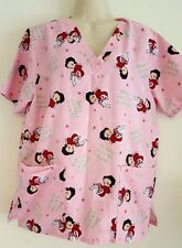 Betty Boop Women's Med 8/10 Pink CHRISTMAS Scrub Top Nursing, Dental, Vet GUC