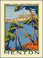 """French Riviera Vintage Illustrated Travel Poster Print for on canvas 36"""""""