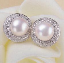 fresh water pearl earring 925 Sterling silver zircon ear studs bridal earring