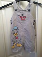 Disney Baby Grey White Striped Donald Duck Dungarees Size 9-12 Months B1