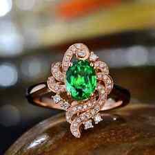 1.23ct 18K Rose Gold Natural Dazzle Green Tsavorite Diamond Gorgeous Fine Ring