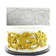 Vintage Flowers Relief Silicone Fondant Mold Chocolate Border Cake Decor Mould