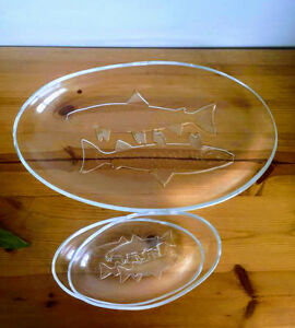 Glass Serving Platters - Embossed Fish design | Set of 3 | 1 large & 2 small