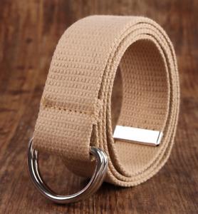 1pcs fashion Double ring buckle canvas belt ladies student solid color belt