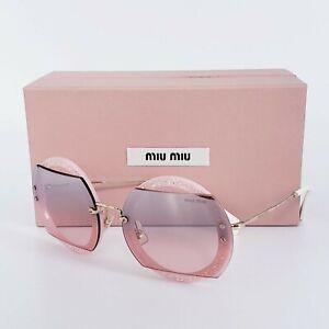 🍀MIU MIU GLITTER MU 06SS AR03-3B0 Pink Crystal Pave Round Mirrored Sunglasses