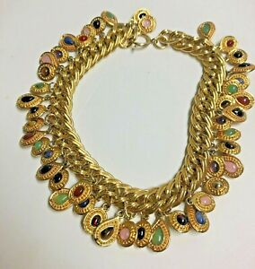 JUDITH LEIBER Cascades of Colorful TEARDROPS Chunky Necklace - #2