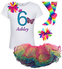 Bubblegum Divas 6th Birthday Girl Butterfly Shirt Rainbow Outfit Personalized 6