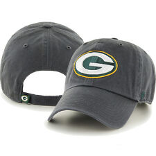 NFL Green Bay Packers '47 Brand Clean up Adjustable Hat Charcoal Black NEW