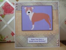 Handmade Staffy Birthday Card Dog Brown White Cartoon Staffordshire Bull Terrier