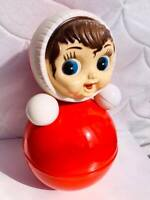 """USSR Fine Vintage Russian Nevalyashka Celluloid Plastic Roly Poly Toy Doll 13.7"""""""