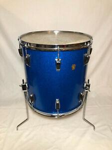 """Ludwig 16"""" x 16"""" Floor Tom Keystone Blue Sparkle Vintage 1960's"""