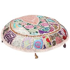 """Indian Round Patchwork Embroidered 22"""" Seat Cotton White Floor Cushion Cover"""