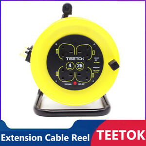 Extrastar Extension Cable Reel 4-Gang 25/50m Heavy Duty Eletrical UK Mains Lead