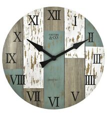 "Large Wall Clock 27"" Diameter Natural Distressed Wood Wall-Mount Roman Numerals"