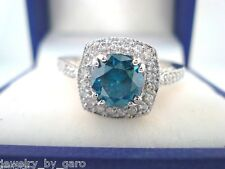 PLATINUM ENHANCED BLUE & WHITE DIAMONDS ENGAGEMENT RING 1.40 CT HALO MICRO PAVE