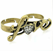 Ajustable vintage retro corazon oro amor doble anillo dedo