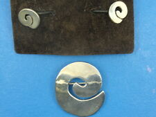L.A. CANO STERLING SWIRL DESIGN EARRINGS & BROOCH PIN SET