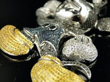 10K White Gold Mickey Mouse Xl Diamond Pendant 12 Ct