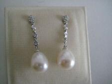 Orecchini con diamanti pendenti tonda perla