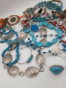 Jewelry lot Southwest Turquoise Silver Tone Trading post Concho Beaded Carved