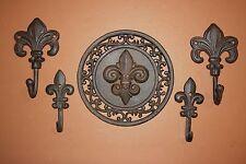 (5) Vintage-Look Fleur De Lis Bath Decor, Fleur De Lis Towel Hooks, French Bath