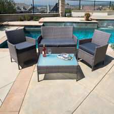 4 PC Furniture Outdoor Set Rattan Patio One Glass Table One Sofa Two Chairs Grey