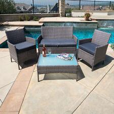 4 pc rattan patio furniture set garden lawn sofa gray wicker cushioned seat - Garden Funiture Set