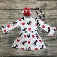 Toddler Kids Baby Girls Cartoon Long Sleeve Princess Dress Set Valentine Clothes