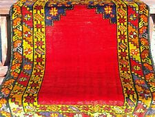 Antique 3'x4'9'' 1900-1939s Natural Dyes Wool Pile Prayer Rug Konya Province