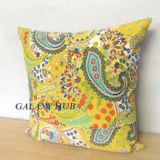 """Large 24"""" Yellow Cushion Cover Kantha Stitch Pillow Cover Room Decorative Throw"""
