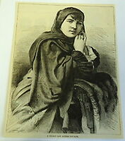 1883 magazine engraving ~ CHILIAN LADY ATTIRED FOR MASS - Chile