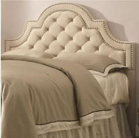 Tufted Headboard King Size Beige Upholstered Nail Head Trim Modern Bed Room Chic