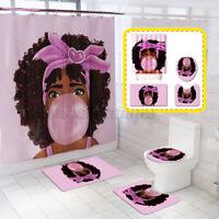 Bathroom Shower Curtain or 3-Pieces Bath Mat Toilet Cover Rug Decor Set Non slip