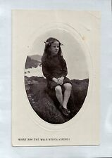 A2584ryt People Child Girl Portrait What are the Wild Waves Saying vint postcard
