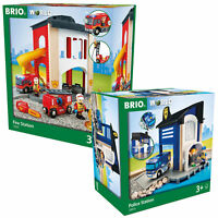 BRIO Wooden Railway Police Station & Central Fire Station Twin Pack 33813 33832