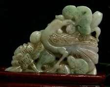 Cert'd Green Natural Grade A Jade jadeite Sculpture Statue bird 鸟 r699632