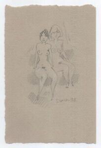 Original Miriam Slater Graphite Pencil & Pastel Nude Women Figure Drawing Signed