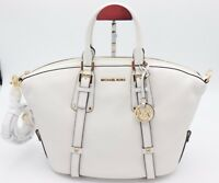 NWT MICHAEL Michael Kors White Bedford Leather Belted Medium Satchel Bag New