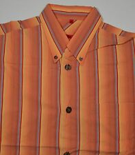 (#254)  SIGNUM RED  Kurzarm  Hemd   Gr. M     orange  mehrfarbig   gestreift