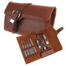 11 in 1 Nail Care Clippers Personal Manicure & Pedicure Set + Brown Leather Case
