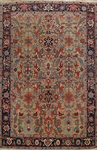 Excellent Vintage Vegetable Dye Traditional Area Rug Geometric Hand-knotted 9x12