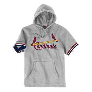 Mens Mitchell & Ness MLB French Terry Short Sleeve Hoodie St Louis Cardinals